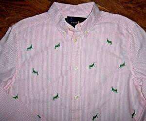 6c221771b NWT Ralph Lauren Pink White OXFORD STRIPE Shirt Boys XL 18 20 GREEN ...