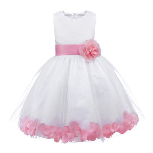 Rose Petal Flower Girl Dress Party Wedding Bridesmaid Graduation Birthday Dress