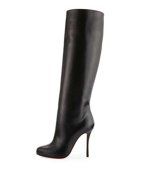 NIB Christian Louboutin Vitish 100 Black Calf Leather Knee High Heel Boot 37.5