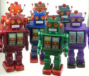 ELECTRON-ROBOT-D-CELL-CLASSIC-50s-60-RETRO-COLOUR-CHOICE-TIN-TOY-Tinplate