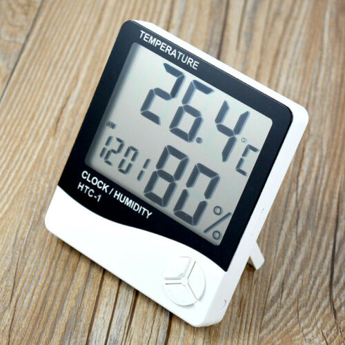 Digital LCD Hygrometer Home Thermometer Humidity Indoor Clock Temperature Meter