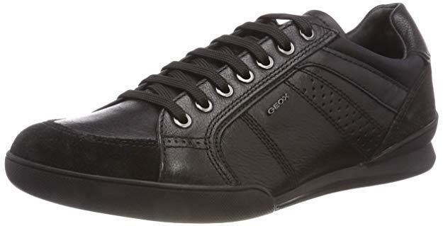 MENS GEOX RESPIRA U KRISTOF A BLACK REAL LEATHER LOW TOP TRAINERS SNEAKERS SIZE