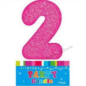 Image Is Loading CAKE CANDLE NUMBER 2 GLITTER PINK 2ND BIRTHDAY