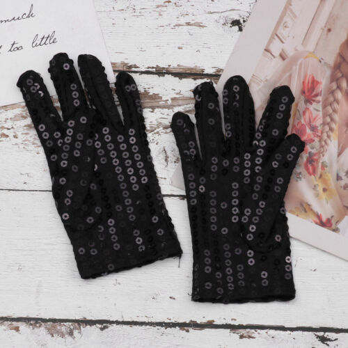Unisex Kids Wrist Sequins Gloves Glitter Party Shinning Costume Mittens Stage 2X