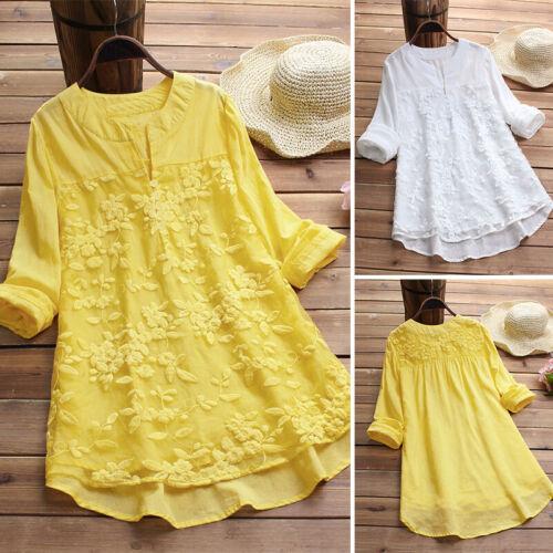 ZANZEA Womens V Neck Long Sleeve Floral Loose Tops Casual Plain Tee Shirt Blouse