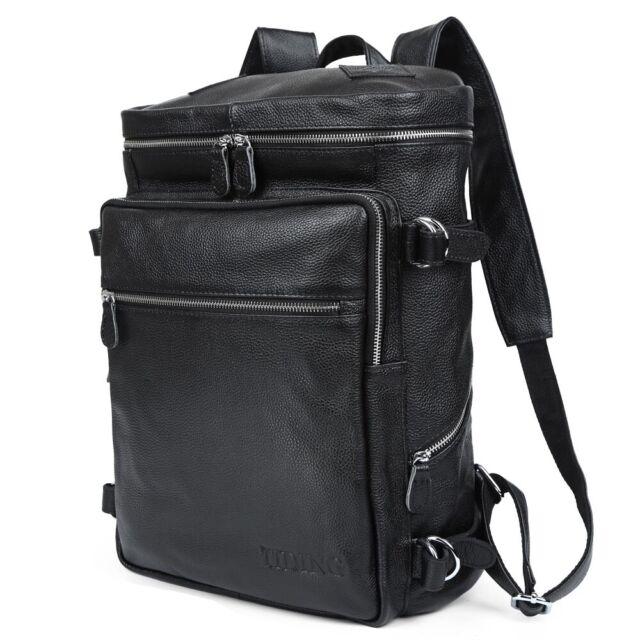 Black Men's Leather 15.6'' Laptop Backpack Shoulder Bag Travel Schoolbag Handbag
