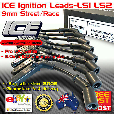 ICE PRO 100 Ignition Spark Plug Leads 9.0mm Black Commodore Chev LS1 LS2 X-long