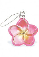Hawaiian Pink Plumeria Flower Christmas Ornament Hawaii Golden Glitters