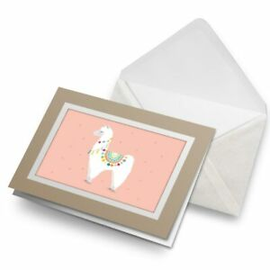 Greetings-Card-Biege-Cartoon-Llama-Alpaca-Cute-Pink-14740