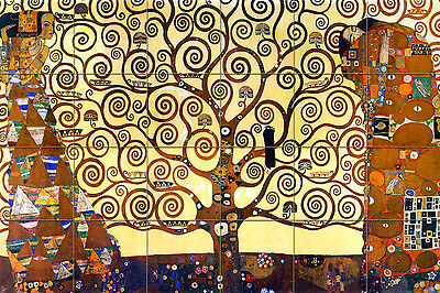 Art Klimt Mural Ceramic Tree of Life Home Backsplash Tile #468
