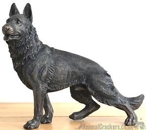 Large-22cm-German-Shepherd-bronze-effect-ornament-figurine-Alsatian-lover-gift