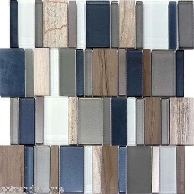 1SF - Blue Gray Marble Metallic Stainless Steel Metal Glass Mosaic Tile Bath Spa
