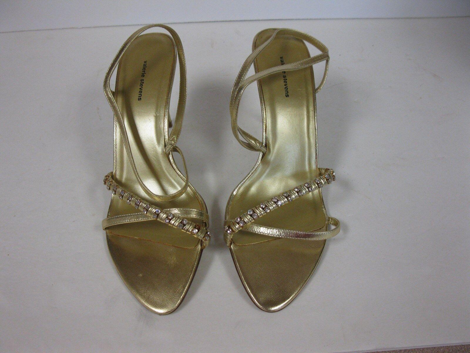 Valerie gold Stevens Fantasy gold Valerie jeweled straps heels slippers pumps leather 10M 8e813c