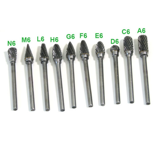10PCS Tungsten Steel Solid Carbide Burrs 6mm Grinder Head For Dremel Rotary Bit