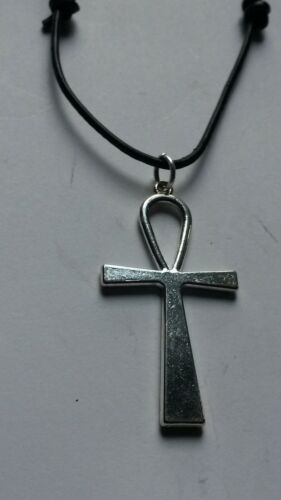 ANCHOR CROSS ON BLACK LEATHER CORD SLIDING KNOT ADJUSTABLE CHOKER NECKLACE