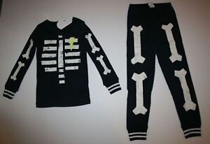 NEW Gymboree Skeleton Boys Girls Halloween Gymmies PJs 18-24M 2T Glow in Dark