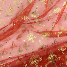 Christmas tree organdy/ organza fabric  red & gold per metre  150cm wide