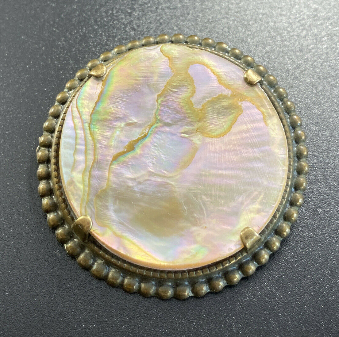 Vintage Mother Of Pearl Abalone Brooch Round Pron… - image 1