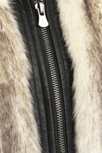 NEW Womens Faux Fur Gilet Ladies Waistcoat Jacket Sizes 8 10 12 14 Cream Natural