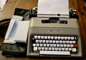 Vtg Olivetti Lettera 35i Mechanical Manual Portable Typewriter 2 ribbons case