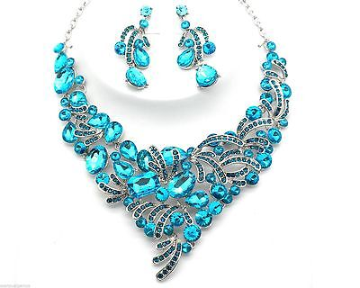 Austrian Blue Crystal Women Necklace Earrings Set Silver Plated Holiday Special