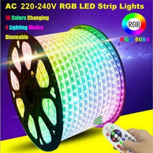 220V 5050 RGB LED Strip Light Waterproof Commercial Rope Light   UK controller