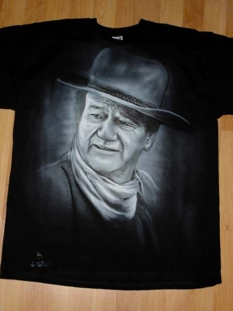 Con Aerógrafo Retrato De John Wayne Pintado A Mano Camiseta