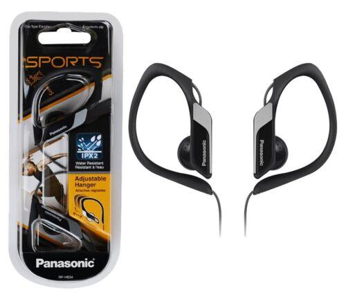 Panasonic RP-HS34 Schwarz Wasserfest Sport Kopfhörer Einstellbar Ohrclip Neu