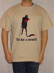 Monty-Python-039-Tis-but-a-scratch-Beige-T-shirt-Size-Large