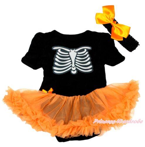 Halloween Skeleton Rib Black Bodysuit Orange Pettiskirt Girl Baby Dress NB-18M