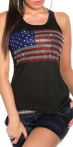 SeXy-Miss-Damen-Tank-Top-USA-Flagge-Style-Freesize-34-36-38-schwarz-strass-bunt