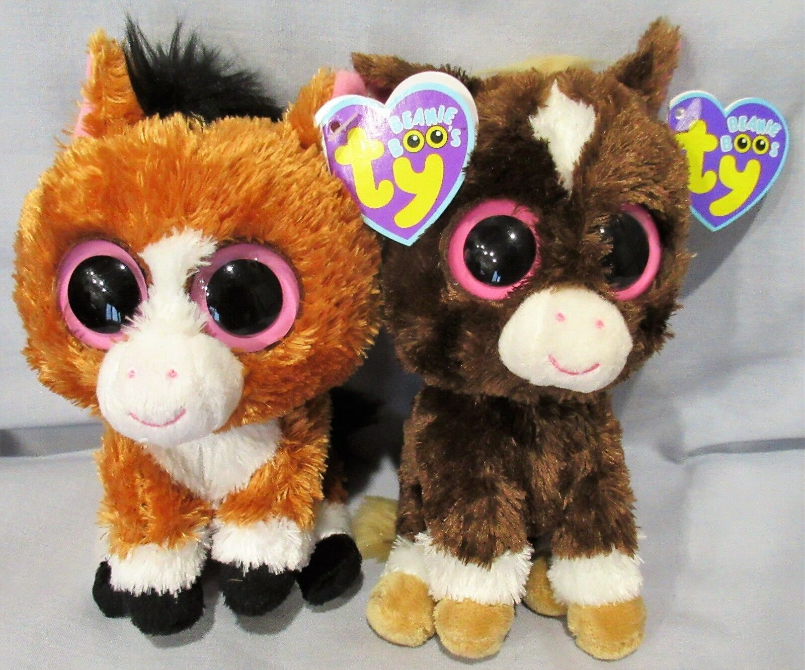 DAKOTA the 6  Horse (dark & light version) - 2 TY Beanie Boo's - NEW w MINT TAGS