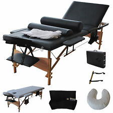 "3 Fold 84""Massage Table Chair Facial Bed Portable W/2 Bolster+Sheet+Cradle Cover"