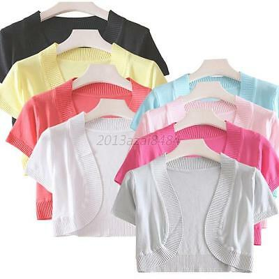 Womens Short Sleeve Knitwear Sweater Knitting Cardigan Shawl Outwear Blouse Tops