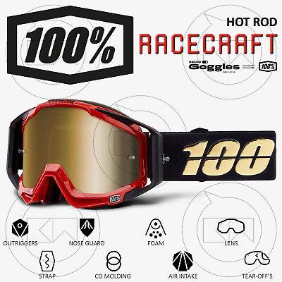 Colto Maschera 100% Racecraft Mx Occhiali Motocross Hot Rod Lente Specchio Oro Gradevole Al Gusto