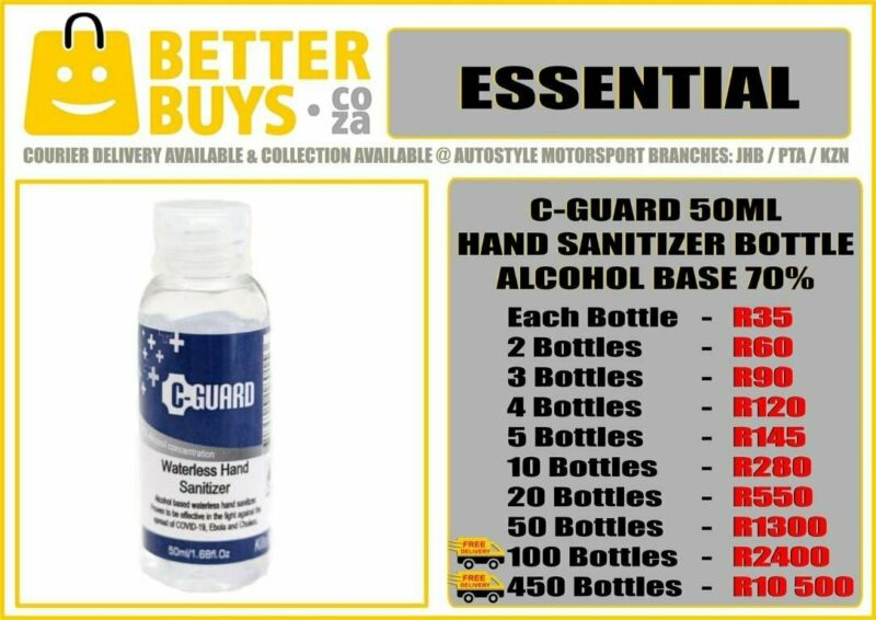 C-Guard Hand Sanitizer 50ml Bottle- Waterless Sanitiser Alcohol Based Waterless easy portable carry