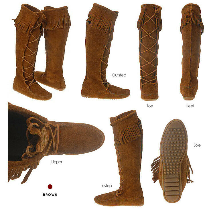 Minnetonka 1422 Wouomo Front Lace Knee-Hi stivali ---Marroneee Dimensione 7