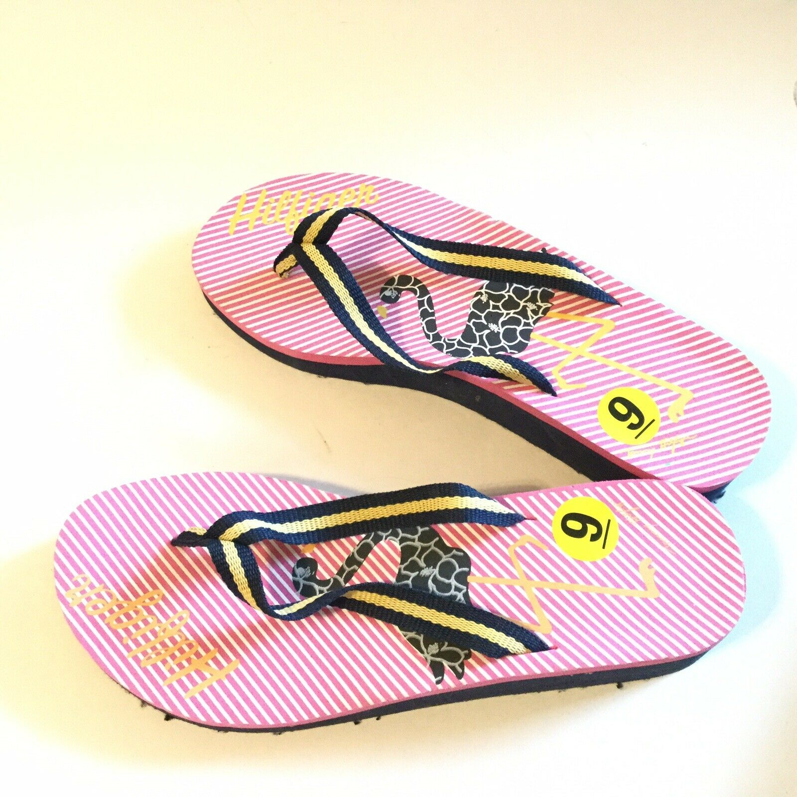 Tommy Hilfiger Women Size 9 Flip Flop Pink Navy S… - image 9