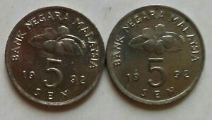 Second Series 5 sen coin 1992 2 pcs