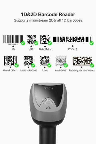 Inateck Barcode Scanner 2D Bluetooth Wireless QR Read Screen with Smart Base