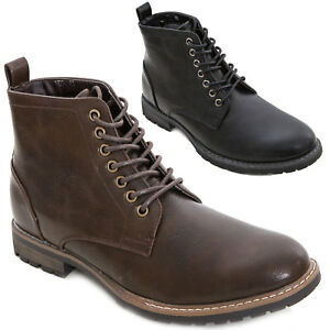 b4973484542bc8 Chaussures hommes bottines lacé cuir écologique rangers Élégant neuf ...