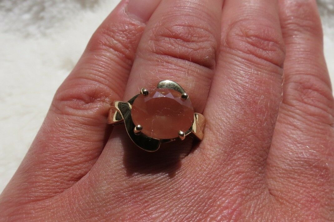 9CT Yellow gold Oval facet Cut 2.36 CT Tibetan Sunstone Twist Ring Size N & 1 2
