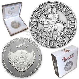 ::RARE:: Palau 1 Dollar 2013 KNIGHTS TEMPLAR coin Antique Finish + Coa + BOX