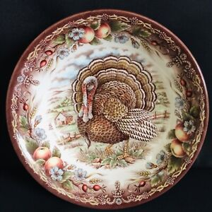 Royal-Stafford-England-Brown-Multi-color-Turkey-7-034-Soup-Cereal-Ice-Cream-Bowl