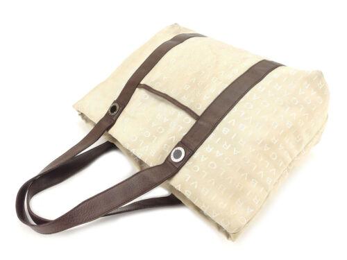 Tote Woman T5057 Bag Unisex Brukt Bvlgari Brown Beige Authentic ad4Rxw4qUF