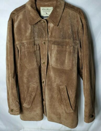 Eddie Bauer Brown Suede Leather Blazer Shirt Jacke