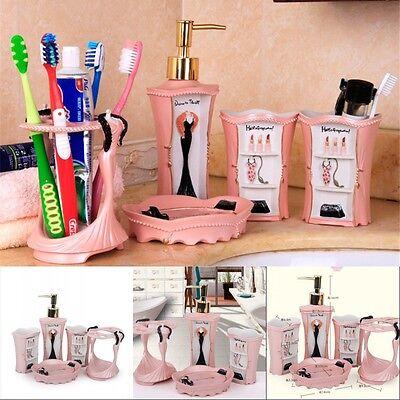 High Grade Pink Household Bathroom Accessory Toiletries Bath Accessory Sets