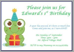 Awe Inspiring Personalised Paper Card Party Invites Invitations Birthday Frog Funny Birthday Cards Online Fluifree Goldxyz