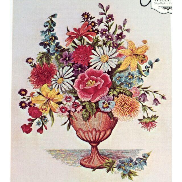 Elsa Williams KC730 Vintage Elegant Spring Floral Flower Crewel Embroidery Kit KC 730  Picture Pillow Kit