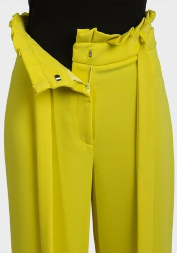 ex River Island Yellow Pleated Trim Belted Culottes Cropped Trousers